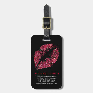 Red Glitter Lips #2 Bag Tag