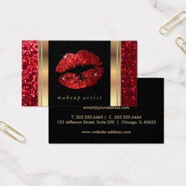 designsbydonnasiggy Red Glitter Lips and Elegant Gold Business Card