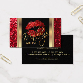 Red Glitter Lips and Elegant Gold Script Business Card