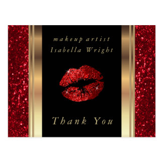 Red Glitter Lips  - Thank you Postcard