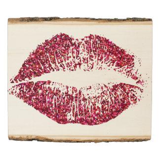 Red Glitter Lips Wood Panel