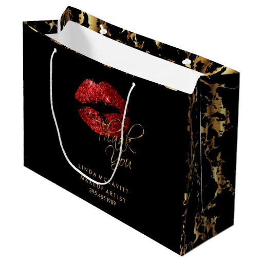 Red Glitter Lipstick and Gold Marble - Thank You Large Gift Bag