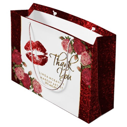 Red Glitter Lipstick and  Roses - Thank You Large Gift Bag