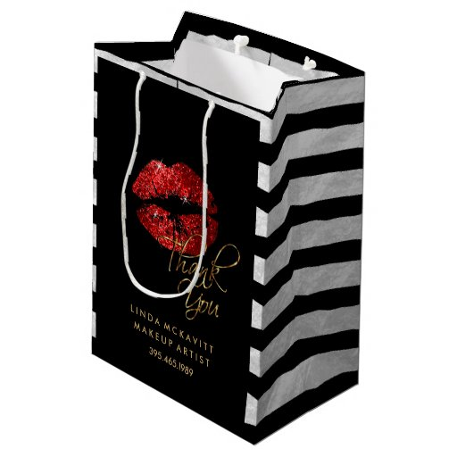 Red Glitter Lipstick and White Stripes - Thank You Medium Gift Bag