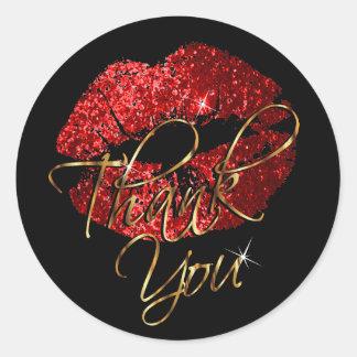 Red Glitter Lipstick on Black - Thank You Classic Round Sticker