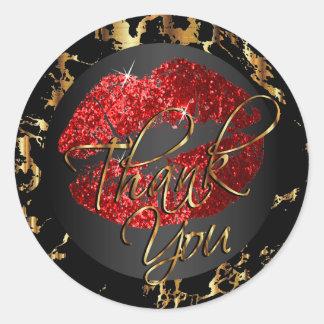 Red Glitter Lipstick - Thank You Classic Round Sticker