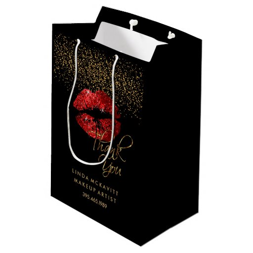 Red Glitter Lipstick - Thank You Medium Gift Bag