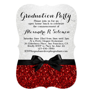 Red Glitter-look Bow Graduation Party Invitation