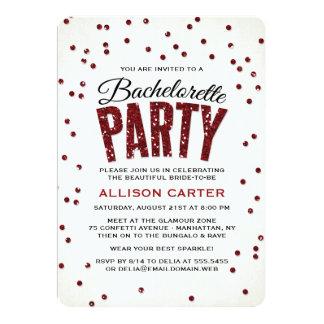 Red Glitter Look Confetti Bachelorette Party Card