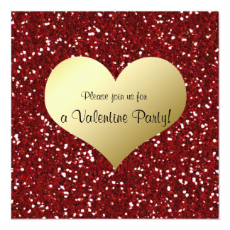 Red Glitter Look Gold Heart Valentine Invitation