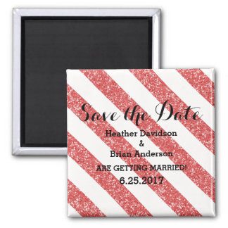 Red Glitter Look Stripes Save the Date Magnet