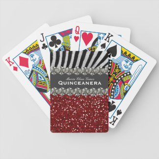 Red Glitter Look Zebra Quinceanera Personalized Bicycle Playing Cards