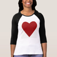 Red Glitter Love Heart Shape T-Shirt
