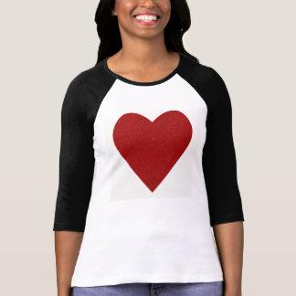 Red Glitter Love Heart Shape T-Shirt