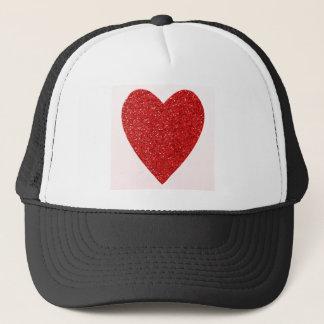 Red glitter love heart trucker hat