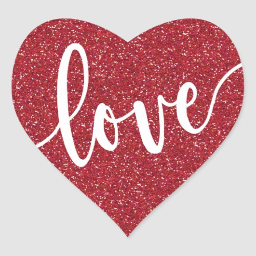 Red Glitter Love Heart   Valentines Heart Sticker