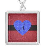 Red glitter monogram blue roses square pendant necklace