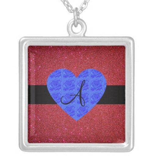 Red glitter monogram blue roses pendant