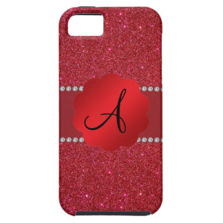 Red glitter monogram diamonds iPhone 5 cases