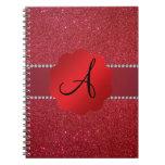 Red glitter monogram diamonds spiral notebook