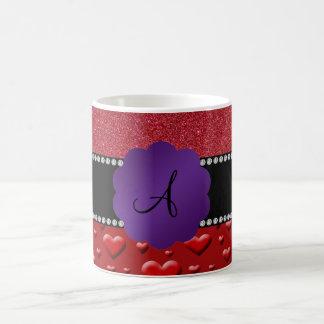 Red glitter monogram hearts diamonds coffee mugs