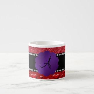 Red glitter monogram hearts diamonds espresso mugs