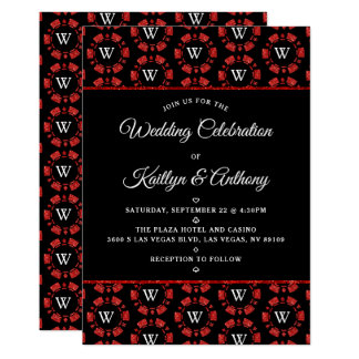 Red Glitter Monogram Poker Chip Casino Wedding Invitation