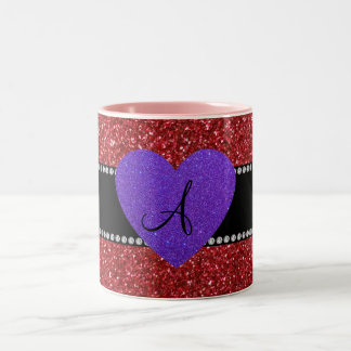 Red glitter monogram purple heart coffee mug