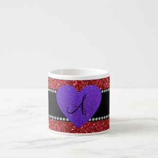 Red glitter monogram purple heart espresso mugs