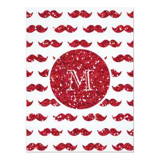 Red Glitter Mustache Pattern Your Monogram 6.5x8.75 Paper Invitation Card