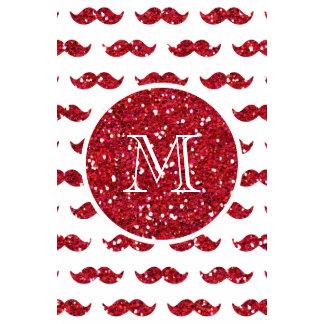 Red Glitter Mustache Pattern Your Monogram Calendars