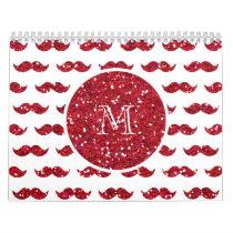 Red Glitter Mustache Pattern Your Monogram Calendar