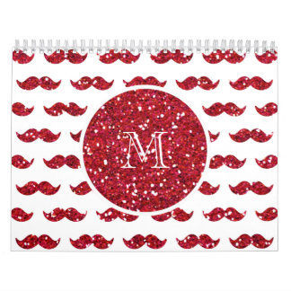 Red Glitter Mustache Pattern Your Monogram Calendar