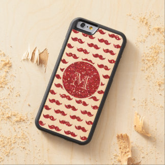 Red Glitter Mustache Pattern Your Monogram Carved Maple iPhone 6 Bumper Case