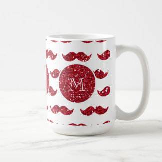 Red Glitter Mustache Pattern Your Monogram Coffee Mug