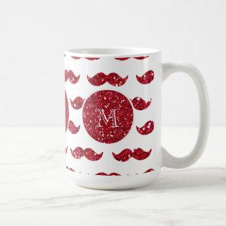 Red Glitter Mustache Pattern Your Monogram Coffee Mug