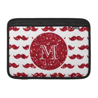 Red Glitter Mustache Pattern Your Monogram MacBook Sleeve