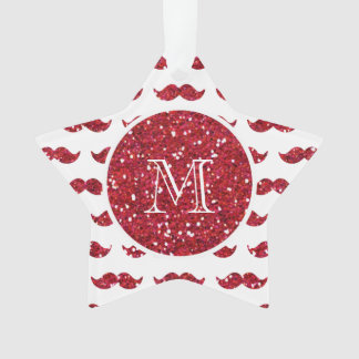 Red Glitter Mustache Pattern Your Monogram Ornament
