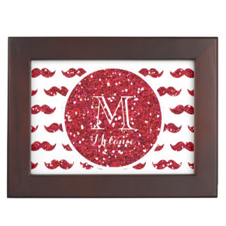Red Glitter Mustache Pattern Your Monogram Memory Boxes