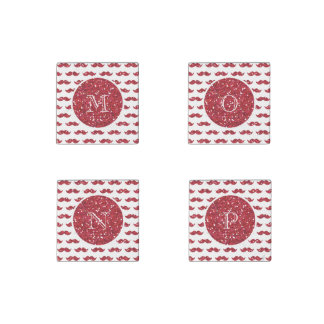 Red Glitter Mustache Pattern Your Monogram Stone Magnet