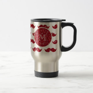 Red Glitter Mustache Pattern Your Monogram Travel Mug