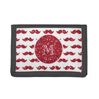 Red Glitter Mustache Pattern Your Monogram Trifold Wallet