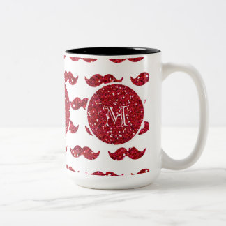 Red Glitter Mustache Pattern Your Monogram Two-Tone Coffee Mug