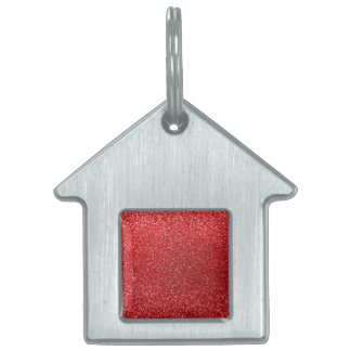 Red glitter pet ID tags