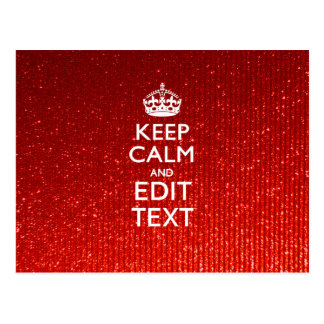 Red Glitter Print Personalize Your Keep Calm Gift Postcard