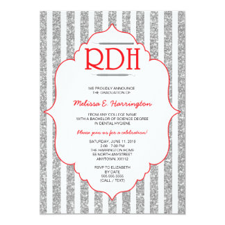 Red Glitter RDH graduation dental hygienist invite
