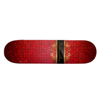 Red Glitter Sequin Disco Glitz Comp Skateboard