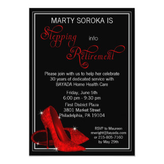 Red Glitter Shoes Retirement Invitation