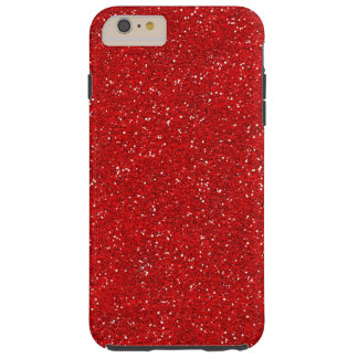Red Glitter Sparkle Graphic Art Pattern Design Tough iPhone 6 Plus Case