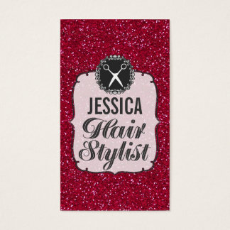 RED Glitter Sparkle Hair Stylist Appointment Business Card